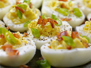 Bacon, Avocado, and Tomato Deviled Egg is A High Protein Meal for Bariatric Patients' Breakfast, Lunch, or Dinner
